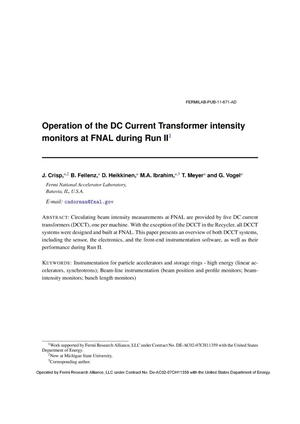 Primary view of object titled 'Operation of the DC current transformer intensity monitors at FNAL during run II'.