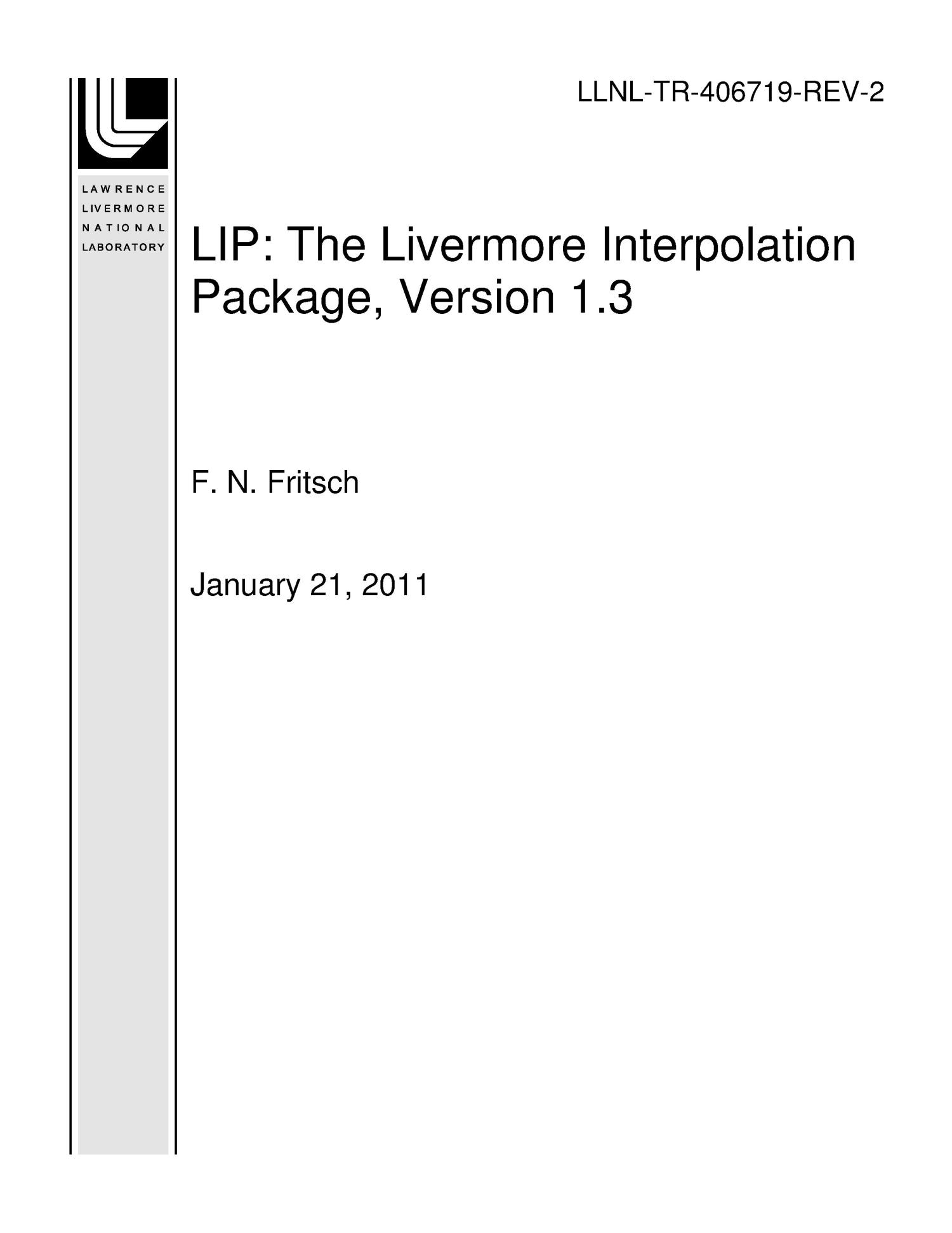 LIP: The Livermore Interpolation Package, Version 1 3