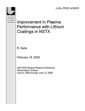 Primary view of object titled 'Improvement in Plasma Performance with Lithium Coatings in NSTX'.