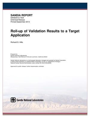 Primary view of object titled 'Roll-up of validation results to a target application.'.