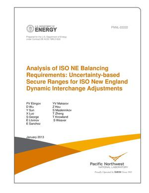 Primary view of object titled 'Analysis of ISO NE Balancing Requirements: Uncertainty-based Secure Ranges for ISO New England Dynamic Inerchange Adjustments'.