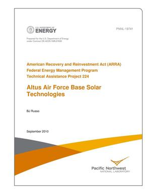 Primary view of object titled 'American Recovery and Reinvestment Act (ARRA) Federal Energy Management Program Technical Assistance Project 224 Altus Air Force Base Solar Technologies'.