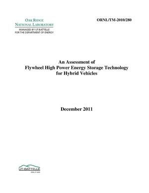 Primary view of object titled 'AN ASSESSMENT OF FLYWHEEL HIGH POWER ENERGY STORAGE TECHNOLOGY FOR HYBRID VEHICLES'.