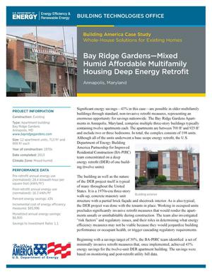 Primary view of object titled 'Bay Ridge Gardens - Mixed Humid Affordable Multifamily Housing Deep Energy Retrofit: Annapolis, Maryland. Building America Case Study: Whole-House Solutions for Existing Homes (Fact Sheet)'.