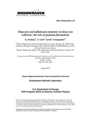 Primary view of object titled 'Ekpyrosis and inflationary dynamics in heavy ion collisions: the role of quantum fluctuations'.