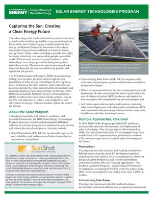 Primary view of object titled 'Capturing the Sun, Creating a Clean Energy Future (Fact Sheet)'.