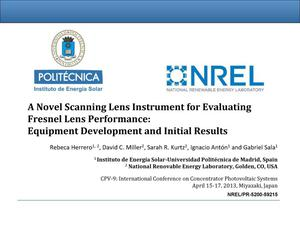 Primary view of object titled 'Novel Scanning Lens Instrument for Evaluating Fresnel Lens Performance: Equipment Development and Initial Results (Presentation)'.