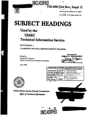 Primary view of object titled 'Subject Headings Used by the USAEC Technical Information Service'.