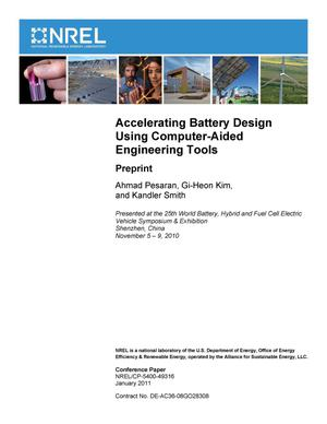 Primary view of object titled 'Accelerating Battery Design Using Computer-Aided Engineering Tools: Preprint'.