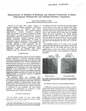 Primary view of object titled 'Measurements of Modulus of Elasticity and Thermal Contraction of Epoxy Impregnated Niobium-Tin and Niobium-Titanium Composites'.