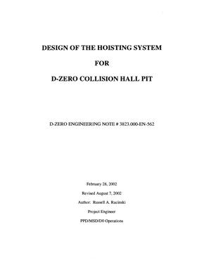Primary view of object titled 'Design of the Hoisting System for D-Zero Collision Hall Pit'.