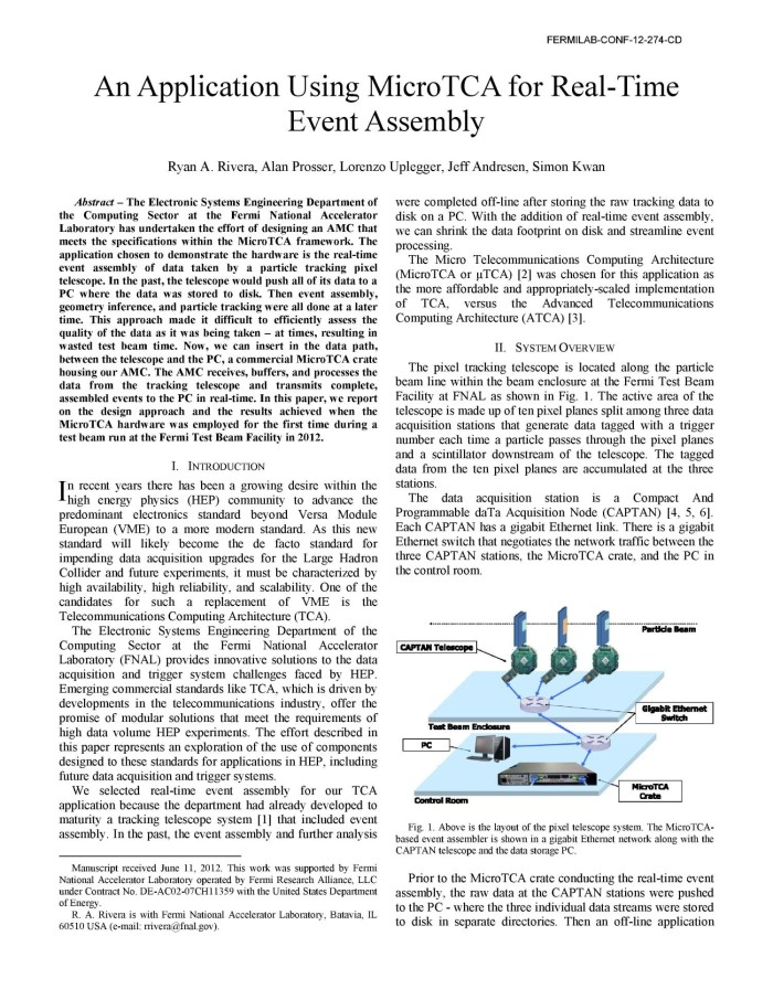 An application using MicroTCA for real-time event assembly