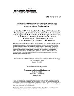 Primary view of object titled 'Sources and transport systems for low energy extreme of ion implantation'.