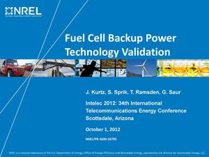 Primary view of object titled 'Fuel Cell Backup Power Technology Validation (Presentation)'.