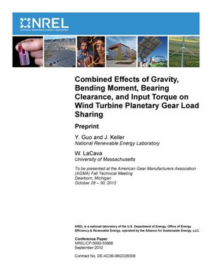 Primary view of object titled 'Combined Effects of Gravity, Bending Moment, Bearing Clearance, and Input Torque on Wind Turbine Planetary Gear Load Sharing: Preprint'.