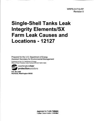 Primary view of object titled 'SINGLE-SHELL TANKS LEAK INTEGRITY ELEMENTS/SX FARM LEAK CAUSES AND LOCATIONS - 12127'.