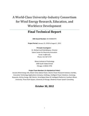 Primary view of object titled 'A World-Class University-Industry Consortium for Wind Energy Research, Education, and Workforce Development: Final Technical Report'.