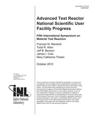 Primary view of object titled 'Advanced Test Reactor National Scientific User Facility Progress'.