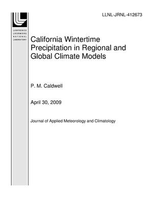 Primary view of object titled 'California Wintertime Precipitation in Regional and Global Climate Models'.