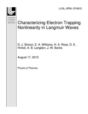 Primary view of object titled 'Threshold for Electron Trapping Nonlinearity in Langmuir Waves'.