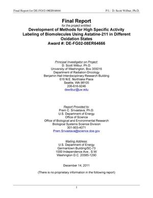 "Primary view of object titled 'Final Report for research grant ""Development of Methods for High Specific Activity Labeling of Biomolecules Using Astatine-211 in Different Oxidation States""'."