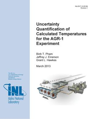 Primary view of object titled 'Uncertainty Quantification of Calculated Temperatures for the AGR-1 Experiment'.