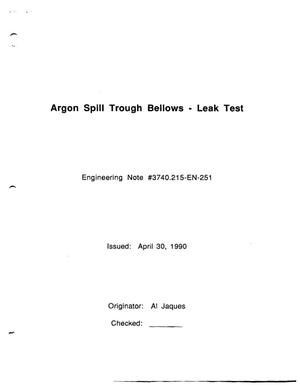 Primary view of object titled 'Argon Spill Trough Bellows - Leak Test'.