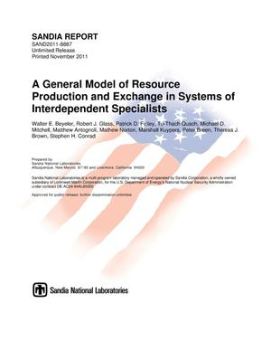 Primary view of object titled 'A general model of resource production and exchange in systems of interdependent specialists.'.