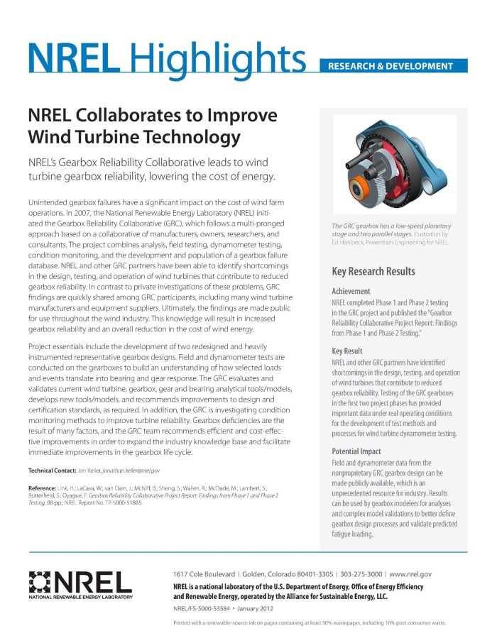 NREL Collaborates to Improve Wind Turbine Technology (Fact Sheet