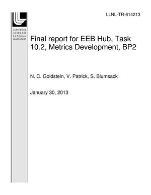 Primary view of object titled 'Final report for EEB Hub, Task 10.2, Metrics Development, BP2'.