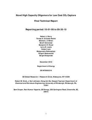 Primary view of object titled 'Novel High Capacity Oligomers for Low Cost CO2 Capture'.