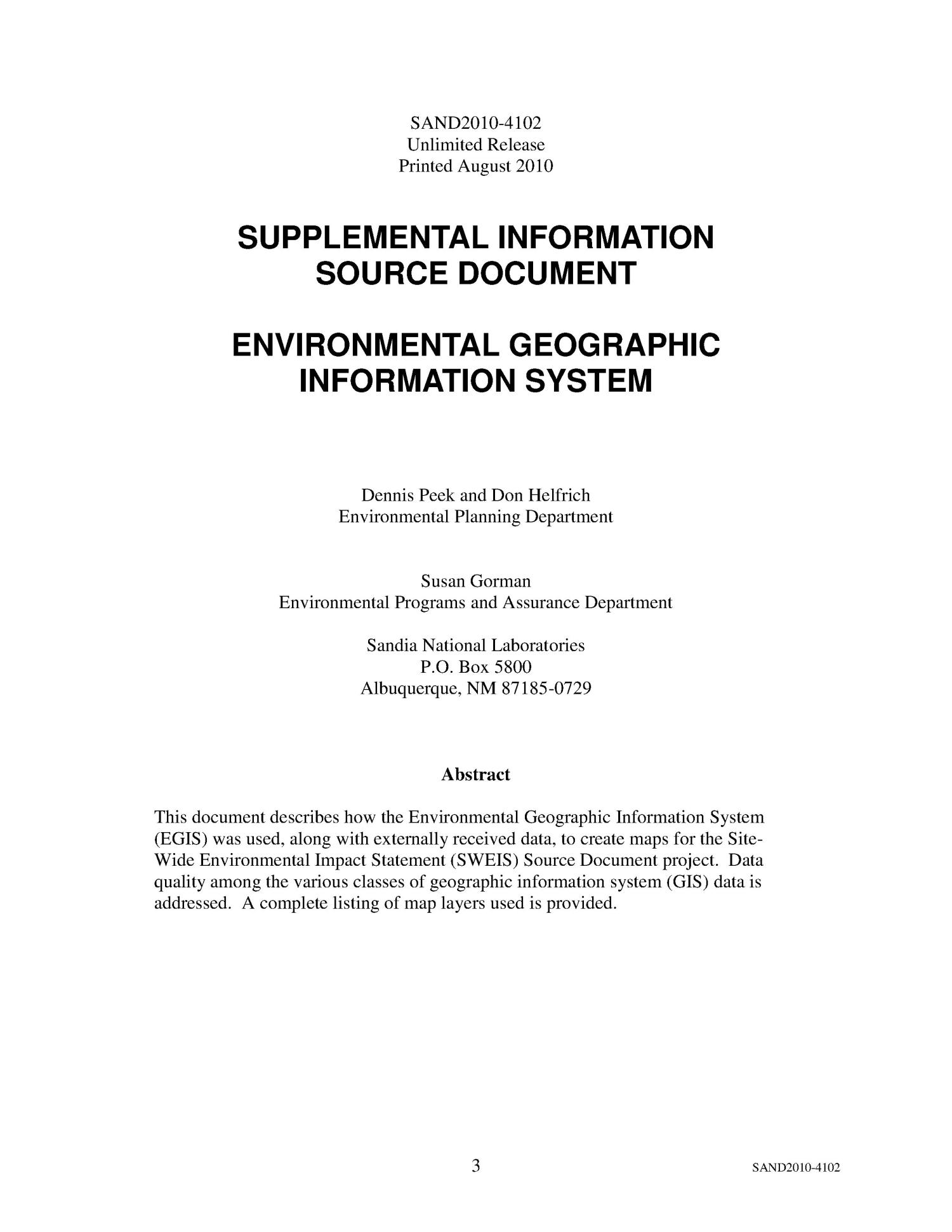 Environmental geographic information system.                                                                                                      [Sequence #]: 3 of 22