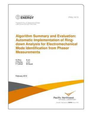 Primary view of object titled 'Algorithm Summary and Evaluation: Automatic Implementation of Ringdown Analysis for Electromechanical Mode Identification from Phasor Measurements'.
