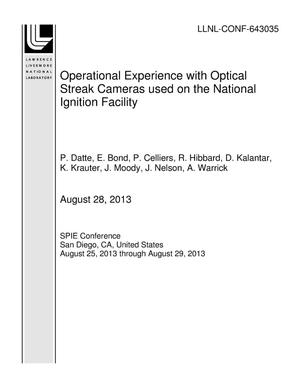 Primary view of object titled 'Operational Experience with Optical Streak Cameras used on the National Ignition Facility'.