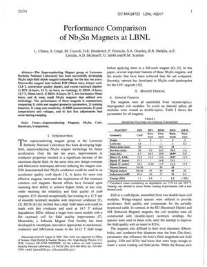 Primary view of object titled 'Performance Comparison of Nb3Sn Magnets at LBNL'.