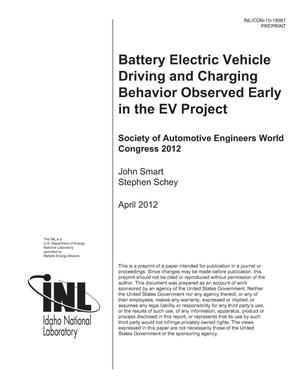 Primary view of object titled 'Battery Electric Vehicle Driving and Charging Behavior Observed Early in The EV Project'.