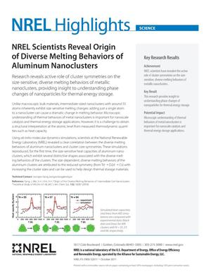 Primary view of object titled 'NREL Scientists Reveal Origin of Diverse Melting Behaviors of Aluminum Nanoclusters (Fact Sheet)'.