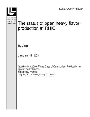 Primary view of object titled 'The status of open heavy flavor production at RHIC'.