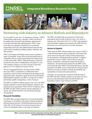 Primary view of object titled 'Partnering with Industry to Advance Biofuels and Bioproducts (Fact Sheet)'.