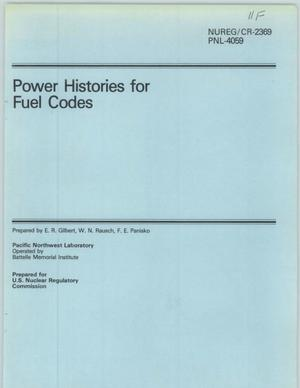 Primary view of object titled 'Power Histories for Fuel Codes'.