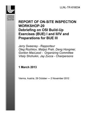Primary view of object titled 'Report of On-Site Inspection Workshop-20'.
