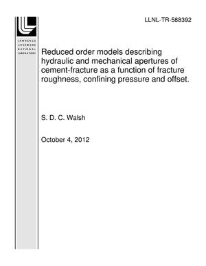 Primary view of object titled 'Reduced order models describing hydraulic and mechanical apertures of cement-fracture as a function of fracture roughness, confining pressure and offset.'.