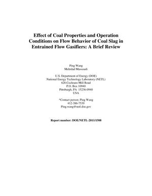 Primary view of object titled 'Effect of Coal Properties and Operation Conditions on Flow Behavior of Coal Slag in Entrained Flow Gasifiers: A Brief Review'.