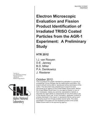 Primary view of object titled 'Electron microscopic evaluation and fission product identification of irradiated TRISO coated particles from the AGR-1 experiment: A preliminary Study'.