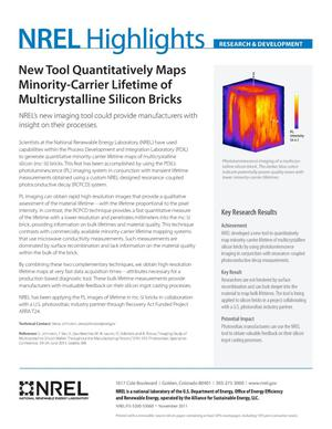 Primary view of object titled 'New Tool Quantitatively Maps Minority-Carrier Lifetime of Multicrystalline Silicon Bricks (Fact Sheet)'.