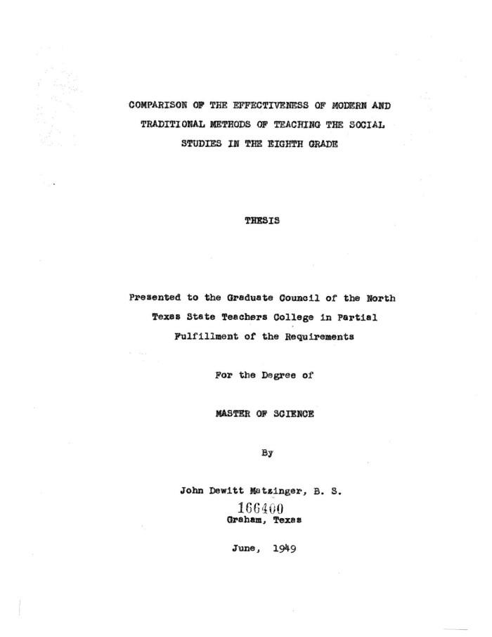 Masters thesis clifton e dewitt