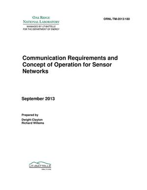 Primary view of object titled 'Communication Requirements and Concept of Operation for Sensor Networks'.
