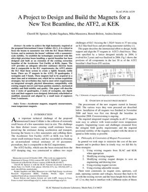 Primary view of object titled 'A Project to Design and Build the Magnets for a New Test Beamline, the ATF2, at KEK'.