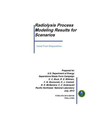 Primary view of object titled 'Radiolysis Process Model'.