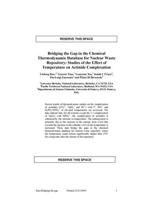 Primary view of object titled 'Bridging the Gap in the Chemical Thermodynamic Database for Nuclear Waste Repository: Studies of the Effect of Temperature on Actinide Complexation'.